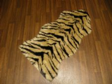 FAUX FUR TOP QUALITY RUG 90CMX100CM SHAPED BLACK/BEIGE WASHABLE FAUX SWADE BACK